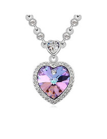 Ultra Purple In The Heart A Commitment Design Austrian Crystal Crystal Necklaces