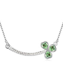 22K Olive Expressed Feelings By Three Leaves Austrian Crystal Crystal Necklaces
