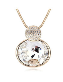 Highwaist White Oval Shape Pendant Glass Crystal Necklaces
