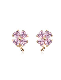 2012 Pink Sweet Four-Leaf Clovers Zircon Crystal Earrings