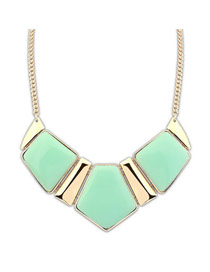 Faddish Light Green Elegant Geometric Square Shape Alloy Bib Necklaces