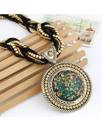 Military Dark Green Elegant Circle Shape Beads Alloy Bib Necklaces