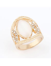Genuine Gold Color Sweet Ol Opal Design Alloy Korean Rings