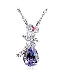 Cheerleadi Purple Elegant Rose Shape Pendant Austrian Crystal Crystal Necklaces