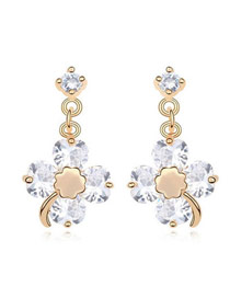 Juniors White Four-Leaf Clover Design Zircon Crystal Earrings