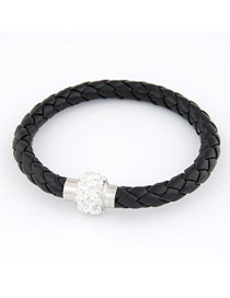 2012 Black Matching Bright Ball Weave Alloy Korean Fashion Bracelet