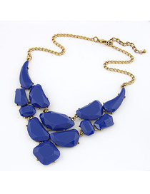 Christenin Blue Matching Luxury Jewel Design Alloy Bib Necklaces