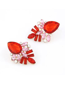 Fabulous Red Elegant Shining Jewel Design Alloy Stud Earrings