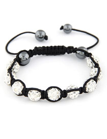 Security White Handmade Weave Ball Design Alloy Korean Fashion Bracelet