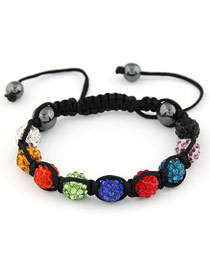Graduated Multicolor Handmade Weave Ball Design Alloy Korean Fashion Bracelet