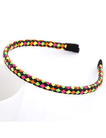 Small Picture Color Fluorescence Weave Design Leather Hair band hair hoop