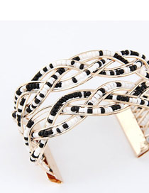 Imitation Black And White Bohemia Beads Style Alloy Fashion Bangles