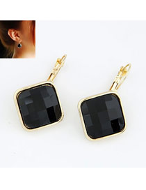Stylish Black Square Shape Design Alloy Stud Earrings