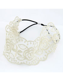 Hurley White Hollow Lace Design Rubber Band Hair band hair hoop