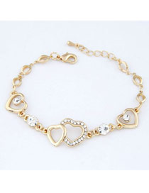 Outdoor Gold Color Heart Shape Design Alloy Korean Fashion Bracelet