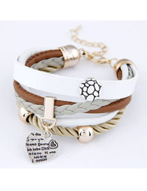 Peridot White Heart Multilayer Ccb Korean Fashion Bracelet
