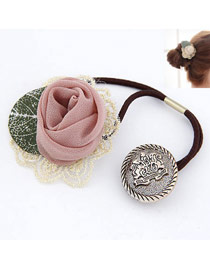 Military Pink Lace Rose Design Rubber Band Hair band hair hoop