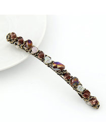 Disposable Purplish Red Handmade Crystal Design Alloy Hair clip hair claw