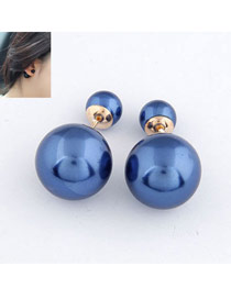 Exquisite Blue Big Pearl Design Alloy Stud Earrings