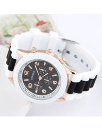 Wonderful Black Candy Color Simple Design Silicone Ladies Watches