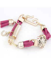 Diaper Purple Leopard Head Decorated Design Alloy Korean Fashion Bracelet