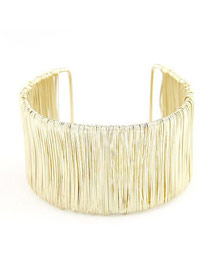 Plus Size Gold Color Wide Open Design Alloy Fashion Bangles
