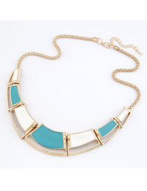 Mobile Blue Double Color Irregular Square Design Alloy Bib Necklaces