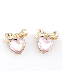 Homecoming Pink Heart Shape Bowknot Decorated Design Alloy Stud Earrings