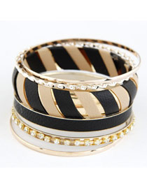 Fashion Black Two Colors Leather Decorated Design Alloy Fashion Bangles