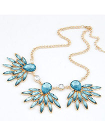 Luxurious Blue Gemstone Decorated Design Alloy Korean Necklaces
