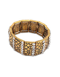 Western White Wide Decorated With Diamond Design Alloy Fashion Bangles