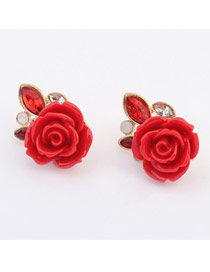 Exquisite Red Rose Shape Design Alloy Stud Earrings