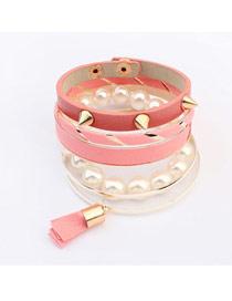 Piercing Pink Multilayer Rivet Decorated Design Alloy Fashion Bangles