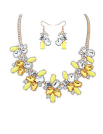 Hooters Yellow Geometric Shape Gemstone Decorated Alloy Jewelry Sets