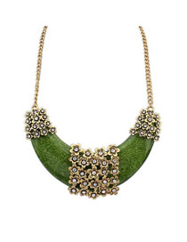 Indian Green Crescent Shape Pendant Design Alloy Bib Necklaces