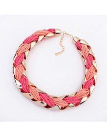 Diy Plum Red&Peach Red Hand Made Beads Weaving Metal Design
