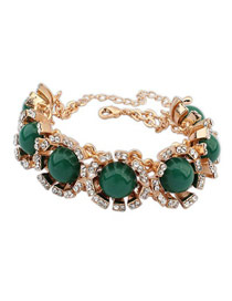Energie Green Round Gemstone Decorated Design Alloy Fashion Bracelets