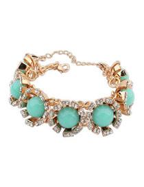 Turquoise Blue Round Gemstone Decorated Design Alloy Fashion Bracelets