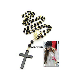 Disposable Black Cross Pendant Alloy Beaded Necklaces