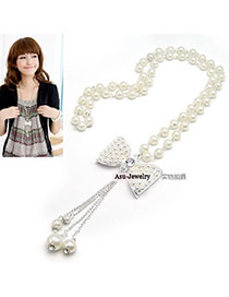 Order White Bow With Pearl Pearl Beaded Necklaces