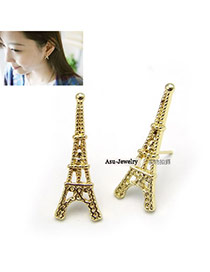24K Gold Color Eiffel Tower In Paris Alloy Stud Earrings