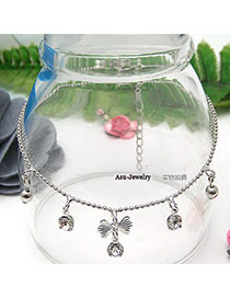 Wedding Silver Color Bow Drop  Design Alloy Fashion Anklets