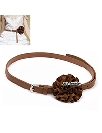 Sheer Brown Flower Leather Thin belts