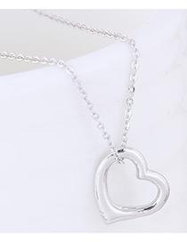 Fashion Silver Color Heart Shape Decorated Pure Color Necklace