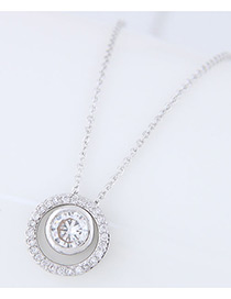 Fashion Silver Color Diamond Decorated Circular Ring Shape Pure Color Necklace