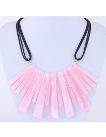Exaggerate Pink Pure Color Decorated Multilayer Necklace