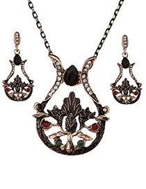 Vintage Black Hollow Out Decorated Jewelry Sets