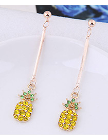 Fahsion Yellow+green Diamond Decorated Pineapple Shape Pure Color Earrings