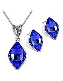 Trendy Sapphire Blue Geometric Shape Gemstone Decorated Jewelry Sets