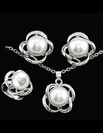 Fashion Silver Color Flower&pearls Decorated Simple Jewelry Sets